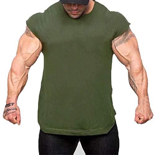 Fenverk Herren Fitness Shape Shirt Figur Formend Training Achselshirts Weste Sauna Schwitzeffekt Tank Top Stark Gym Bodyshape Mit Breit TräGer(Armeegrün 1,L) (Mumie König Für Erwachsenen Kostüm)