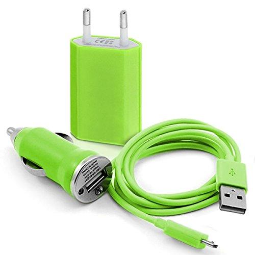 Seluxion - Chargeur Secteur Prise Allume-Cigare avec cable Data USB Couleur Vert pour Smartphone Samsung, Nokia, LG, Wiko, Acer, Huawei, Danew, Orange, Logicom, Archos