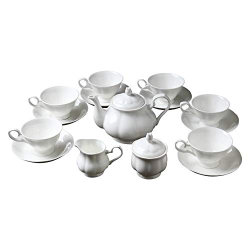 15 Piece European Classical Bone China Tea Set,Jingdezhen Pure White Coffee Tea Sets,For Household,Wedding