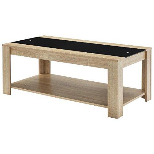 Générique Damia Table Basse Style Contemporain en MDF mélaminé décor Chene et Verre trempé Noir - L 110 x l 55 cm