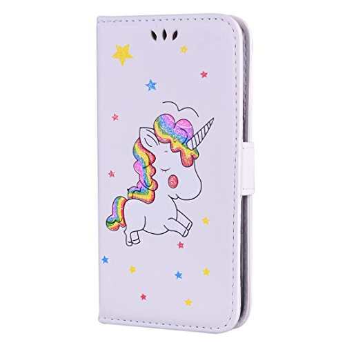 Voll Perlen Handtasche (Samsung Galaxy S7 Edge hülle Einhorn Serie Lederbezug mit Wallet Card Slot Funktion und funkelnden Glitter Star-Muster handyhülle.-Weiß)