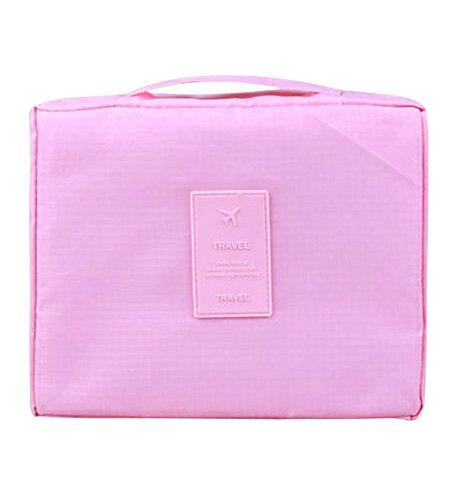 Sumolux Borsa Bagaglio in Pelle a Mano Impermeabile Borsone Volume Grande da Viaggio Vestiti Cosmetici per Donna rosso rosa