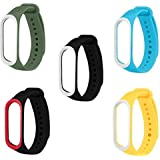 Rapidotzz Pack of 5 Straps/Belts/Bands Compatible for Xiaomi MI3 and MI4 MI Band 3 and MI Band 4 (Set 1)