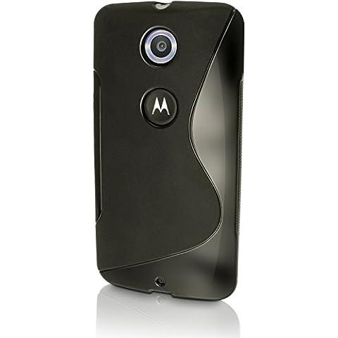 igadgitz S Line Negro Lustroso Funda Carcasa Gel TPU para Motorola Google Nexus 6 XT1100 XT1103 Case Cover + Protector Pantalla
