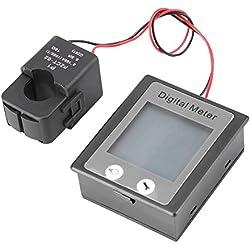 Módulo de Medidor de Energía Eléctrica(vatios) Tester de Corriente(amperios) con Pantalla Digital Probador de Voltaje(voltios) Multifuncional AC 80-260V 100A Monitor +TC Retráctil