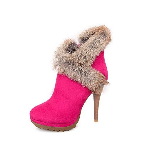 AgooLar Damen Rund Zehe Mittler Absatz Niedrig-Spitze Rein Stiefel mit Metallisch, Pink, 37