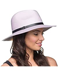 Socks Uwear Ladies Fashionable Wool Fedora Trilby Style Hat with Black PU Leather Band