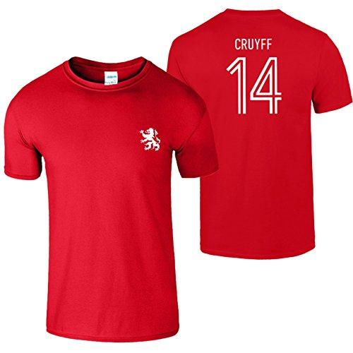Johan Cruyff 14 Herren T-Shirt 70s Legende Holland Fußball Rot (Red) / Weiß Design