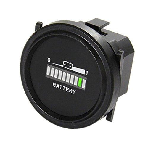 Qiorange Digitale LED Batteriestatus Ladeanzeige Batterieanzeige Stundenzähler Zeitzähler DC 12V / 24V / 36V / 48V / 72V (Runde 12V-72V)