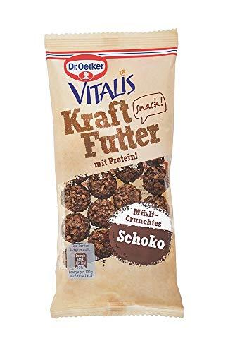 Dr. Oetker Vitalis Kraftfutter Schoko: Pausen Snack und Fingerfood mit Protein und süßen Müsli Crunches, 7er Portionspack (7 x 45g)