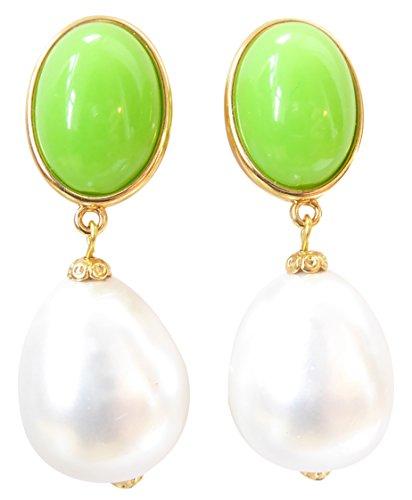 Auffällig: Sehr große leichte Ohr-Clips vergoldet Stein knall-grün Anhänger Perle weiß Tropfen Statement Fashion Glamour Designer JUSTWIN