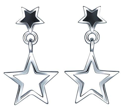 Yumilok 925 Sterling Silber Schwarz Epoxy Doppel Sterne Ohrstecker Ohrhänger Ohrringe Hypoallergen Ohrschmuck für Damen Mädchen