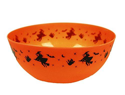 HAAC Schale mit Hexe auf Besen Größe 25 cm Farbe orange für Halloween Fasching Karneval