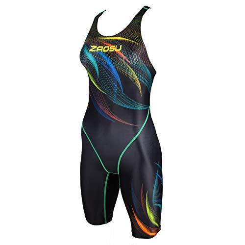 ZAOSU Damen & Mädchen Wettkampf-Schwimmanzug Z-Feather Fire | Sport Badeanzug mit Bein, Fina Zulassung und Kompression, Größe:176/36