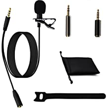 Ownuzz 3.5mm Lavalier Lapel Microphone Kit, Omnidirectional Mic For Iphone, Android All Other Smartphones Tablets Computers PC, Suitable For Canon Nikon DSLR Cameras Camcorders Audio Recorder(Black)