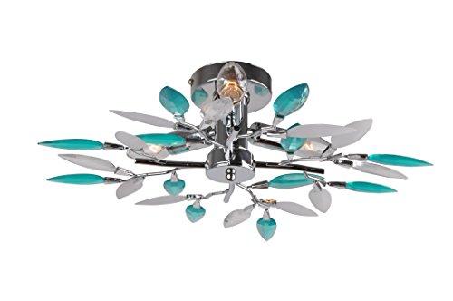 Lámpara de techo con diseño de flores turquesa acabado cromo