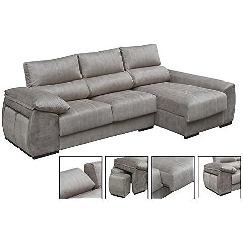 Sofá tres plazas más chaiselongue derecha con asientos deslizantes tapizado en tela