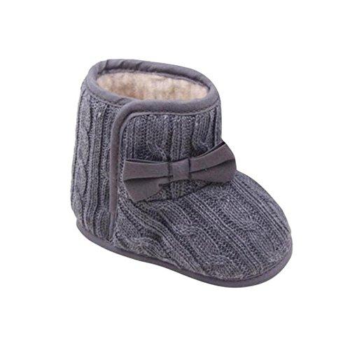 FNKDOR Babyschuhe Mädchen Jungen Neugeborene Weiche rutschfest Stiefel (3-6 Monate, Grau)