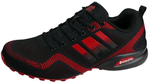 gibra Herren Sneaker Sportschuhe, Art. 7737, Sehr Leicht und Bequem, Schwarz/Rot, Gr. 44