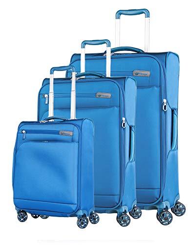 Verage Visionary Reisekoffer Gepäck-Set 3 teilig S-(19.5') + M-(25') + L-(29'),Blau, 4 Rollen Stoff Trolley mit TSA-Schloss, Handgepäck geeignet für Ryanair,...