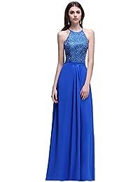 Babyonlinedress Vestido azul largo para fiesta de noche y boda estilo A-line elegante cuello de halter sin mangas espalda de apertura