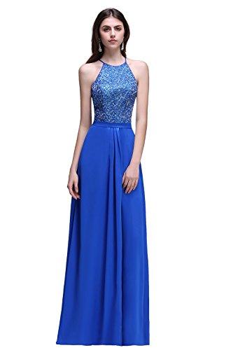 Babyonlinedress Vestido largo y azul para fiesta de noche y boda estilo elegante cuello de halter sin mangas espalda de apertura talla 32