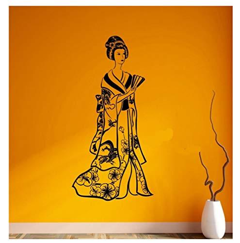 Mrlwy Hochwertige Vinyl Wandaufkleber Wandtattoo Geisha Japan Mädchen Schönheit Frau Japan Ost Vinyl Aufkleber 28x43cm -