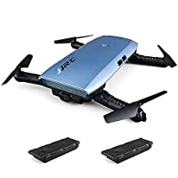 JJRC H47 ELFIE WiFi FPV 720P HD Camera Pocket Selfie Drone G-sensor Control APP Control Flight Planning Foldable RC Drone Metal Blue with 2 Batteries - Blue