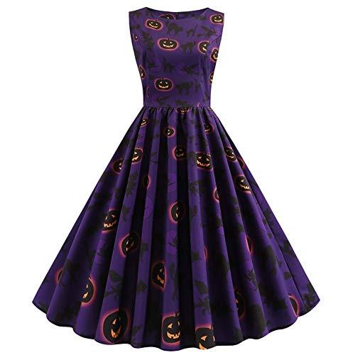 GBYAY Frauen Kürbis Hausfrau Print Kleid Halloween Kürbis O Neck Mini Kleider (Halloween Disfraces Ideen 2019)