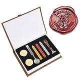 WOWOSS 8-in-1 Wax Seal Set Wachssiegel mit Rosenholz Griff Wachsversiegelungsset Dichtungssatz mit Wachs Vintage Dichtsatz Wachs Vintage Geschenkbox für Banken/Unternehmen / Einladungen