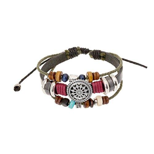 VJGOAL Damen Armband, Männer Frauen Mode Vintage Böhmen Wind Perlen Multilayer Hand Gewebt Armband Valentinstag Geschenke (Durchmesser: 30 cm)