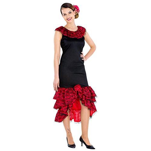 Tänzerin Kostüm Brasilien - TecTake dressforfun Frauenkostüm heiße Spanierin | Kleid & Bindegürtel | Flamenco Tänzerin Verkleidung (M | Nr. 300632)