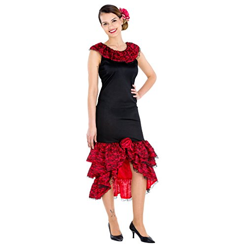 Kostüm Flamenco Girl - TecTake dressforfun Frauenkostüm heiße Spanierin | Kleid & Bindegürtel | Flamenco Tänzerin Verkleidung (M | Nr. 300632)