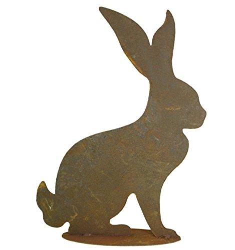 Metallmichl Edelrost eleganter Hase sitzend, auf Platte - Höhe 40 cm, Osterhase, Osterdeko, Osterdekoration,