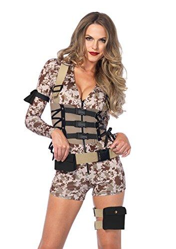Deutscher Soldat Damen Kostüm - LEG AVENUE 85542 - Kostüm Set Schlachtfeld Schätzchen, Camo, Damen Fasching,Größe S