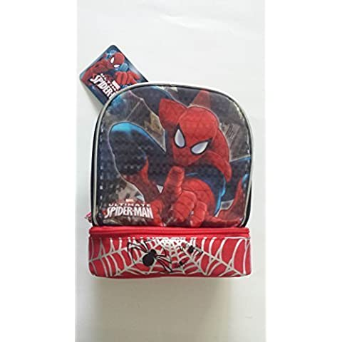 Spider-Man 3D Molded Chest Insulated Lunch Kit, with side mesh pockets. Padded handle for easy carry. by Spider-Man