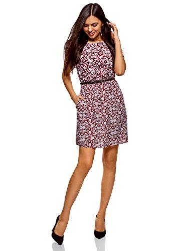 Stadt-stil Kleid (oodji Ultra Damen Druckkleid aus Viskose, Rot, DE 34 / EU 36 / XS)
