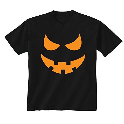 (Youth Kids Kinder Kürbis Gesicht Scary Halloween-Kostüm T-Shirt Gr. X-Large, schwarz)