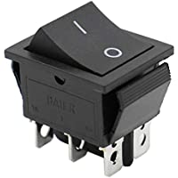 Heschen interruptor basculante (ON) -OFF momentáneo DPDT 6 terminales 16A 250VAC negro 2Pack