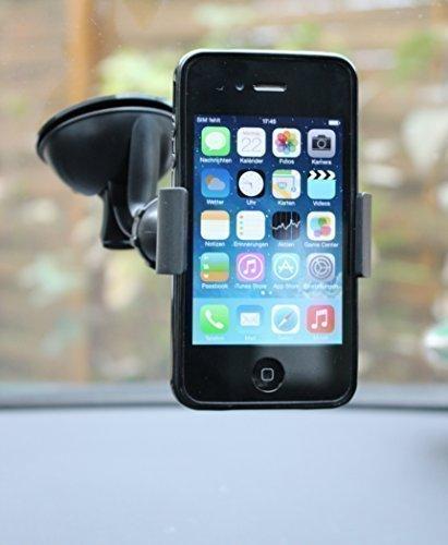 Universale Auto Handy Halterung für Apple Iphone und Samsung Galaxy in schwarz, Saugfuß mit Kugelgelenk 360 Grad drehbar - bis 9 cm Handy Breite (auch mit Hülle) kein Zusammenbau nötig - Dealbude24