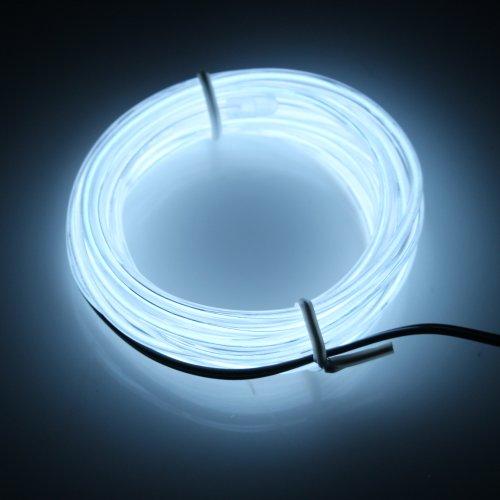 Lerway 3M EL electroluminiscente alambre LED Light Ligero Bike Inicio Jardín Cocina Habitación Baño tira flexible Glowing Lamp Lighting + caja del regulador, para el árbol de navidad Decoración, Fiesta Club, Café Restaurante (blanco)