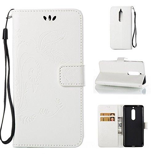 EKINHUI Case Cover Solid Color Faux Leder Bookstyle Brieftasche Stand Case mit geprägten Blumen & Lanyard & Card Slots für Nokia 5 (N5) ( Color : Brown ) White