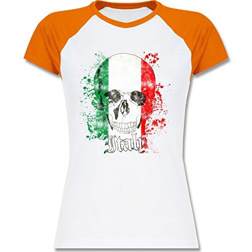 EM 2016 - Frankreich - Italy Schädel Vintage - zweifarbiges Baseballshirt / Raglan T-Shirt für Damen Weiß/Orange
