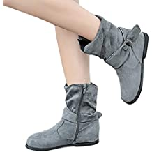 Longra☛☛❤❤Ajustado para Mujeres con Estilo Botines Planos de Mujer de Estilo Vintage Zapatos Suaves y Ajustados Botines de pies Botas Medianas
