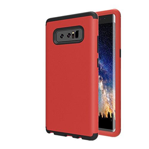 Galaxy Note 8Case, aoker Drei Schicht Heavy Duty High Impact Resistant Hybrid Hartschale Schutzhülle und Weichem Silikon Slim Fit Best Defender Schutzhülle für Samsung Galaxy Note 8(2017), Rot