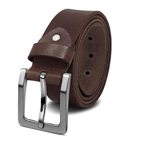 ROYALZ Antik Vintage Ledergürtel für Herren Büffel-Leder aus robusten 4mm Voll-Leder Jeans-Herren-Gürtel mit Dornenschließe 38mm, Größe:130, Farbe:Dunkelbraun - Schnalle gebürstet -