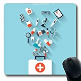 Luancrop Mousepad per Computer Notebook Diagnosi ospedaliera Piatto Assistenza Sanitaria Primo Soccorso Farmaco Farmaci internazionali Ambulanza Anatomia Fasciatura Tappetino per Mouse Antiscivolo
