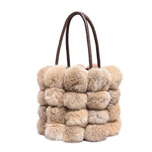Groß Handtasche Retro Eimer Plüsch Tasche Umhängetasche Schulter Crossbody Tasche,Brown-OneSize -
