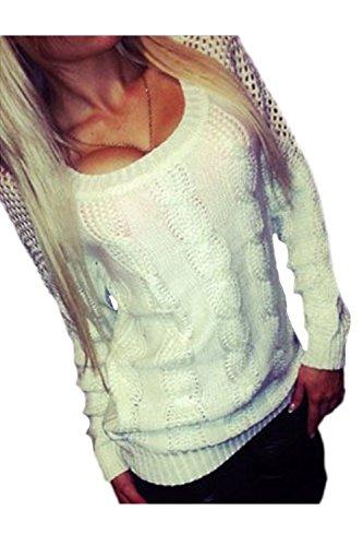 Les Femmes Les Scoop Cou Trou Noués Hiver Chaud Twist Tricoter Pull Pull white