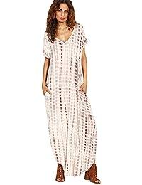 COCO clothing Mode Printkleider Locker Schlitz Maxikleider Rundhals Kurzarm Kleid  Damen Freizeitkleid Dünne Chiffonkleid Lange Kleider e308abbc18